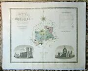 1829 Greenwood Middlesex Genuine Antique Map Large 81x64cms London Thames Rare