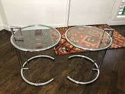 Pair Of Vintage Modern Eileen Gray Adjustable Chrome And Glass Side Tables