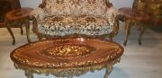 Gorgeous Carved French Style Couch With Center Piece And Two Side Tables