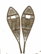 Vintage Tubbs Wooden Snowshoes Leather Binding 48andrdquo By 13.5andrdquo