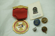 Vintage Masonic Pins Lot 14k Gold Crescent 32nd Shriners Lapel Sterling Silver