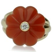 Pre-owned French 18ct Gold Cornellian And Diamond Ring - 2015