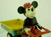 Rare 1950s Line Mar Toys Celluloid And Tinplate Mickey Mouse Tricycle Toy Japan