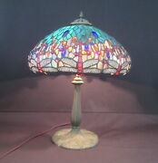 Dragonfly Stained/leaded Glass 23 Table Lamp Rewired -handel