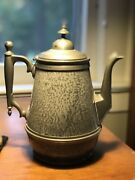 Victorian Ornate Gray Graniteware And Pewter Graniteware Coffee Pot