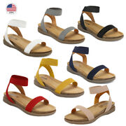 Dream Pairs Womenand039s Open Toe Elastic Strap Criss-cross Flat Sandals Summer Shoes