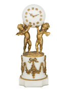 French White Marble Sphere Clock W/ Gilt Bronze Cherub And Fairy Supports C.1900