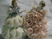Irish Dresden Figurines Muller Volkstadt The Sister's Pink Blue Lace Porcelain