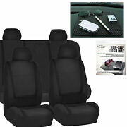 Car Seat Covers Solid Black Set For Auto W/head Rests Dash Grip Pad