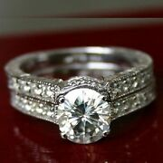 2.00 Ct Forever One Moissanite Round Pave Wedding Set Vintage Bands Rings
