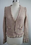 Rose Beige Metallic Knit Sweater Jacket Gold Buttons Size 36 Worn Once