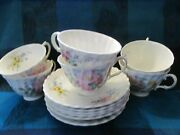 Royal Doulton, England, Arcadia Pattern, 6 Footed Cups And Saucers - Vgc