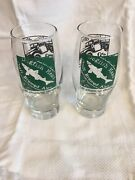 """2 Dogfish Head Craft Brewed Ales Off Centered People 2008 Beer Glasses 6.5"""" Cc"""