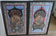 2 Vintage Watercolor On Canvas Paintings From Bali - Barong