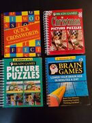 Puzzle Books Brain Games And Quick Crosswords Christmas Picture Puzzles Lot Of 4