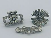 Beautiful Lot Of 3 Assorted Crystal And Rhinestone Hair Clips Claws Barrette