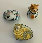 Lot Of 3 Cloisonné And Enameled Cat Figure Trinket Jewelry Ring Boxes. 2159.