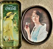 Pair Of Vintage Antique Coke Coca Cola Soda Drink Serving Trays Wall Home Decor