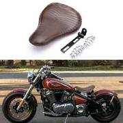 Motorcycle Solo Seats Spring Brown Soft Leather For Bobber Kawasaki Vulcan 900