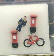 First Additions Painted English Post Man, Bicycle, And 2 Post/pillar Boxes.