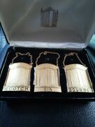 Rare Vintage Sprrong And Co. Decanter Labels Three Piece Set Scotch Gin Bourbon.