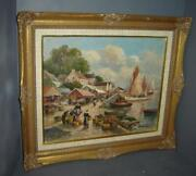 Antique French Impressionist Eugene Demester Harbor Fisherman Boats Oil Painting