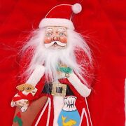 Vintage Quilted Santa Christmas Stocking Red Faux Fur Cuff Animals 3d Appliques