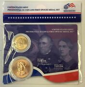 Us Mint Zachary And Margaret Taylor Pres. 1 Coin And First Spouse Medal Set K9136