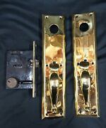 Large Pair 14 Tall Solid Brass Rectangular Door Back Plates With Mortice Lock