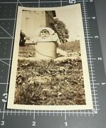 1910's Baby Child In Lunch Pail Bucket Trash Can Cute Vintage Snapshot Photo