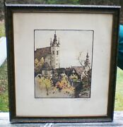 Rare - Old Color Etching Of European Church Or Castle