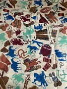 Vintage Arvale Rogers Fabric Cowboy Gear Cotton 3 3/4yds X 41andrdquo Western