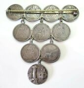Victorian Era Silver Engraved Us Liberty Seated Dimes 10 Love Tokens Brooch Pin