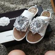 Auth Cc Flower Thong Flat Sandals Size 38 Silver New From Jpn F/s