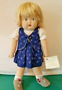 Vtg German Hand Made Cloth Doll W/ Original Clothes And Leather Shoes Named Jenny