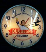 Vintage Pam Clock Duquesne Pilsener The Finest Beer In Town Round Wall Clock