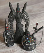 Vtg Spoontiques Black Pewter Wizard Cauldron Crystal Ball Orb 3 Figurine Statues