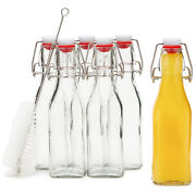 6 Swing Top Glass Bottles W/ Cleaning Brush For Kombucha Beer Brewing Clear 8 Oz