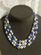 Vtg Christian Dior 1961 Signed Necklace Glass Crystal Pearl Blue White Fabulous