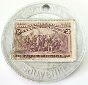 1892-1893 World's Columbian Expo Encased 2 Cents Postage Stamp Souvenir Medal