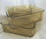 3 Pieces Of Federal Amber Two 8 Square Refrigerator Containers And One 6 X 3
