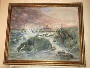 Walter Shirlaw Original Painting Oil On Canvas Signed Framed Seascape