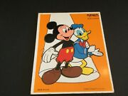 """Vintage Playskool Wood Puzzle Miickey Mouse And Donald Duck 9 Pcs 11 1/2"""" X 9"""""""