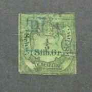 Germany Oldenburg Coat Of Arms Stamp 1/3 Silbergroschen Green Very Rare 1855