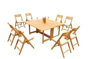 9-piece Outdoor Teak Dining Set 60 Butterfly Table 8 Folding Arm Chairs Surf