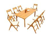 9-piece Outdoor Teak Dining Set 94andrdquo Rectangle Table 8 Stacking Arm Chairs Surf