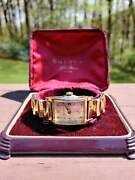 Bulova Vintage Wrist Watch With Box In Yellow Gold