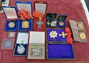 Lot Collection Religious Orthodox Collar Medals Greek Russian Sterling Silver