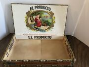Antique El Producto Claro Wooden Cigar Box With Nice Labels Tax Stamp