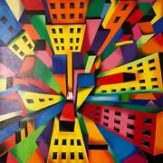 View From Above - Quadro Olio Su Tela - Painting Oil On Canvas - Cm 70x70